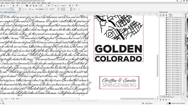 A screen shot of the leather journal art in Corel Draw