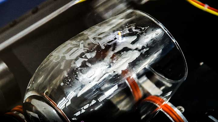 Laser engraving a wine glass