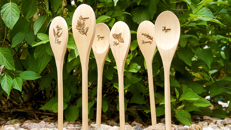 group of laser engraved garden markers